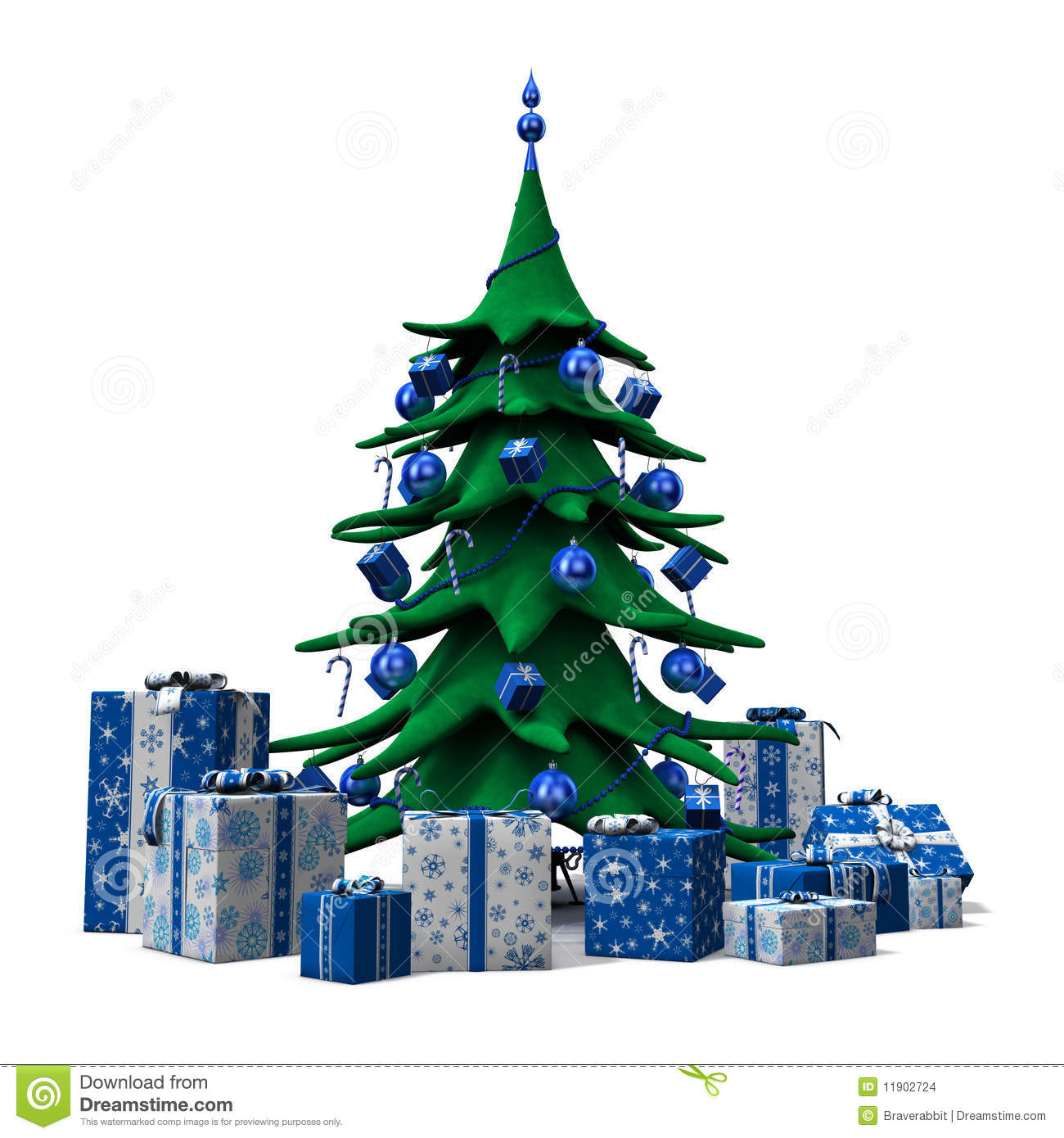Christmas Tree Decorated Blue With Blue Presents Stock Illustration ...