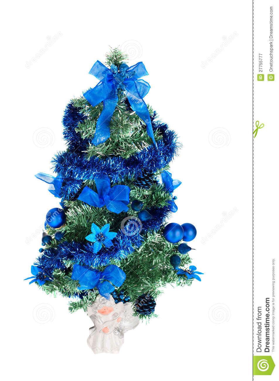 Christmas tree decorated with blue toys and angel royalty free stock