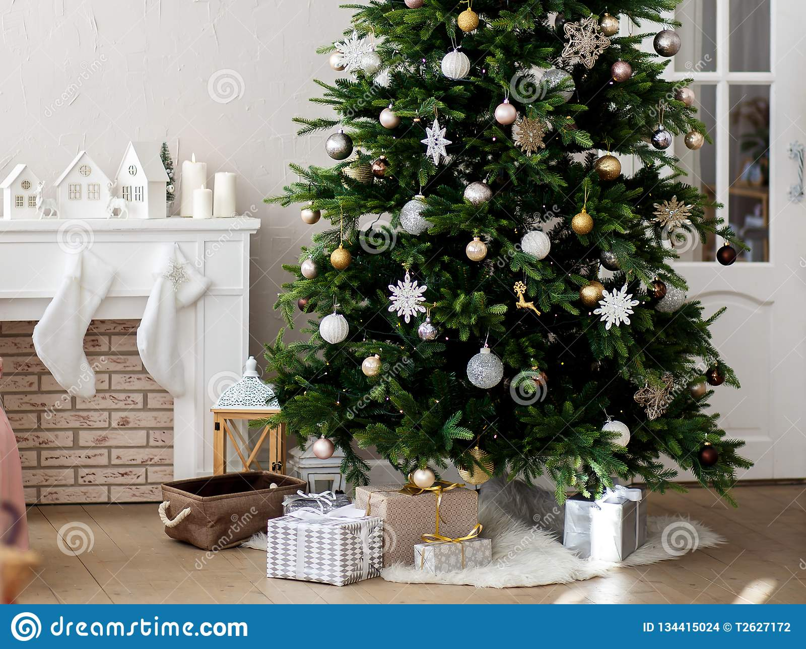 Christmas tree decorated in a bright room