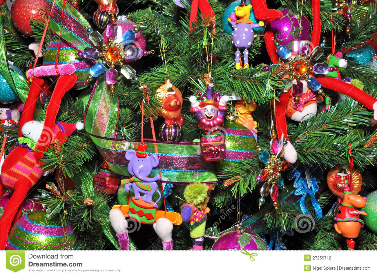 Christmas Tree Decorated With Children's Toys. Stock Photography ...