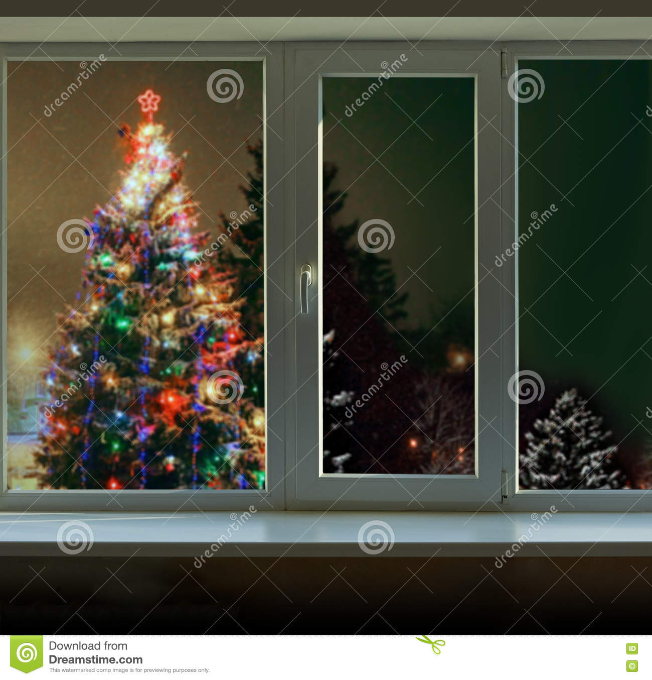 download christmas tree decorated with christmas lights outside the window stock image image of christmas