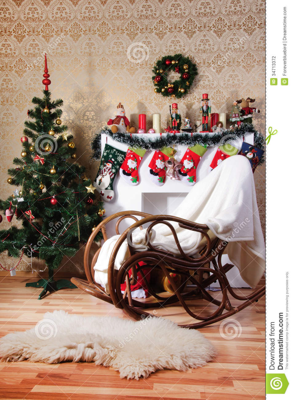 Swell Christmas Tree Decorated Fireplace And Rocking Chair In Machost Co Dining Chair Design Ideas Machostcouk