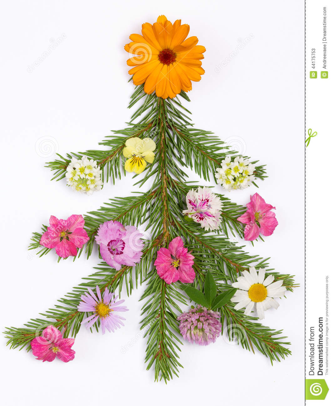 Christmas Tree Decorated With Flowers Stock Photo