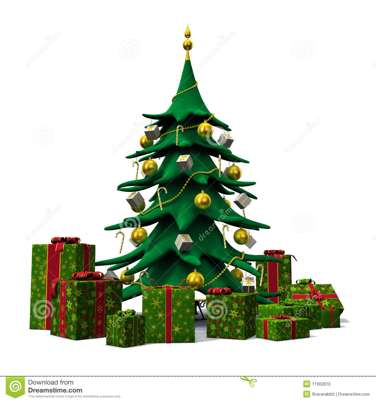 Real christmas trees with presents - Christmas Tree Decorated Gold With Green Presents