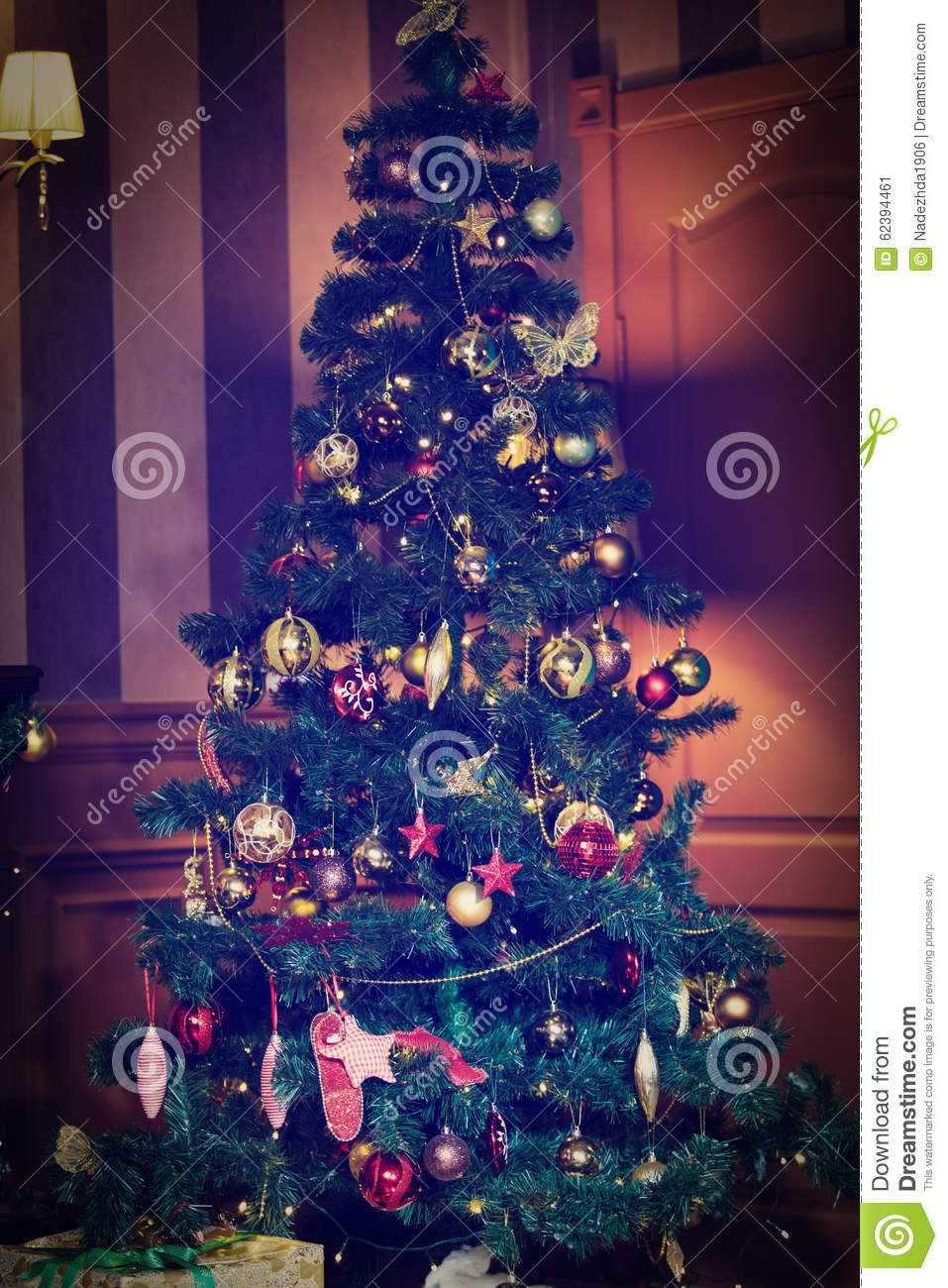 Christmas Tree Decorated At Home Interior Stock Photo