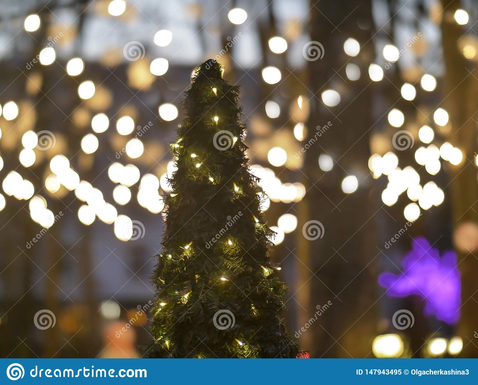Christmas Tree Decorated With Lanterns Stands In A Park On The Street Holiday Concept Stock Image Image Of Decoration Celebration 147943495