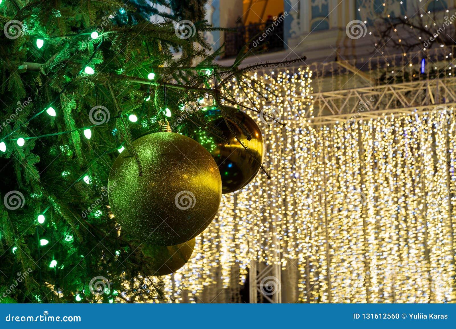 Christmas Tree Decorated With Lights At Night Kiev Ukraine