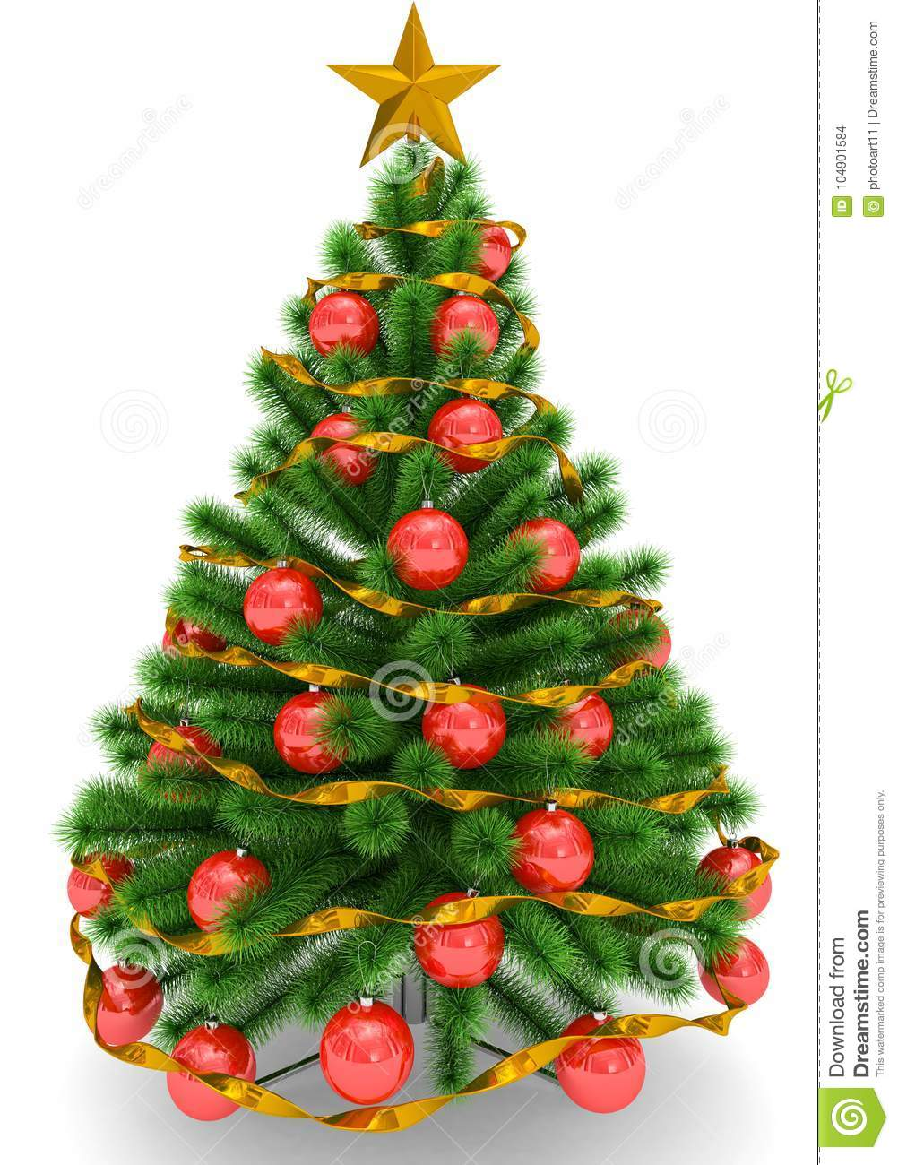 christmas tree decorated with red christmas balls golden christ - Gold And Red Christmas Tree