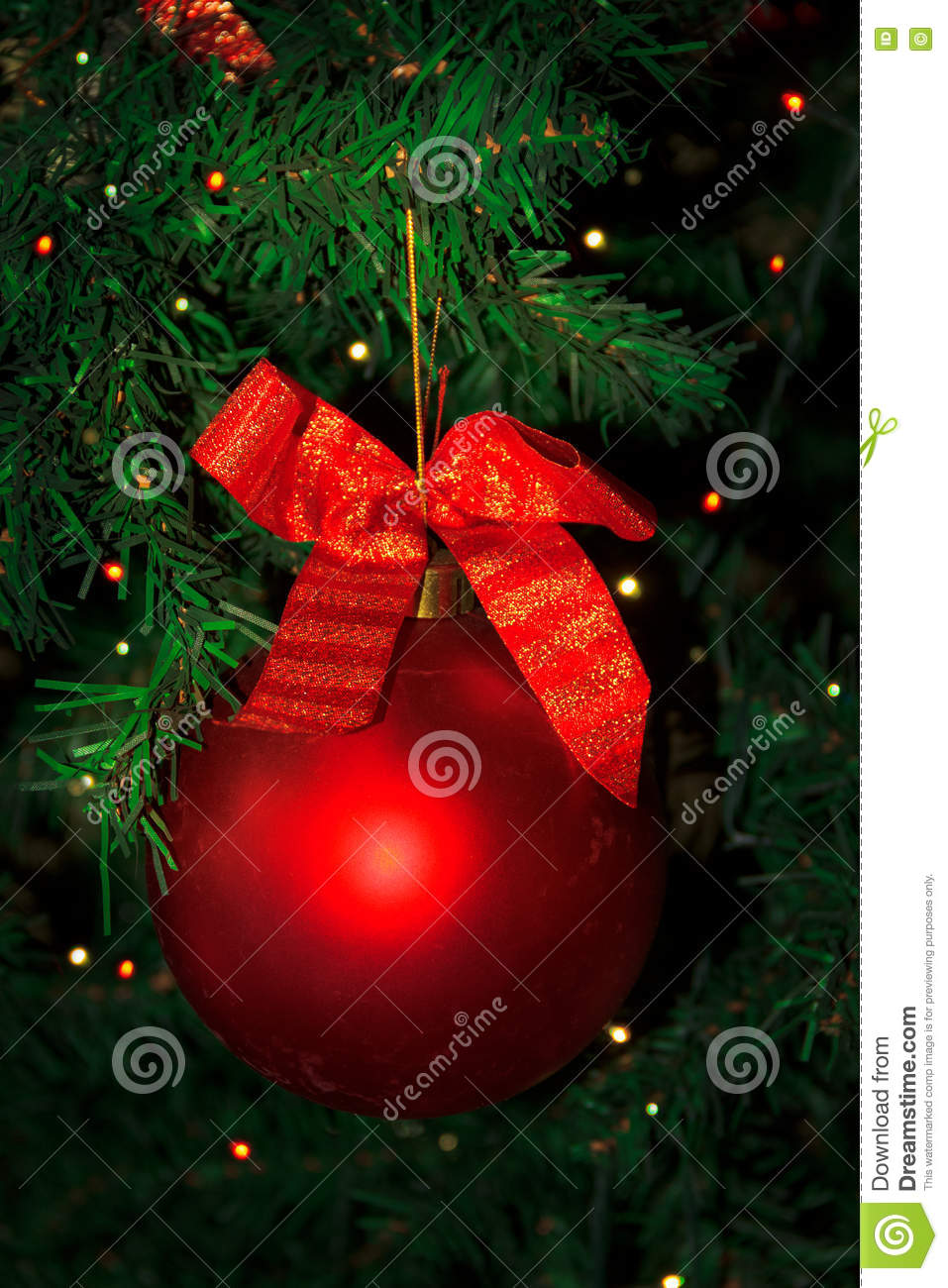 Christmas tree decorated with red bauble hanging