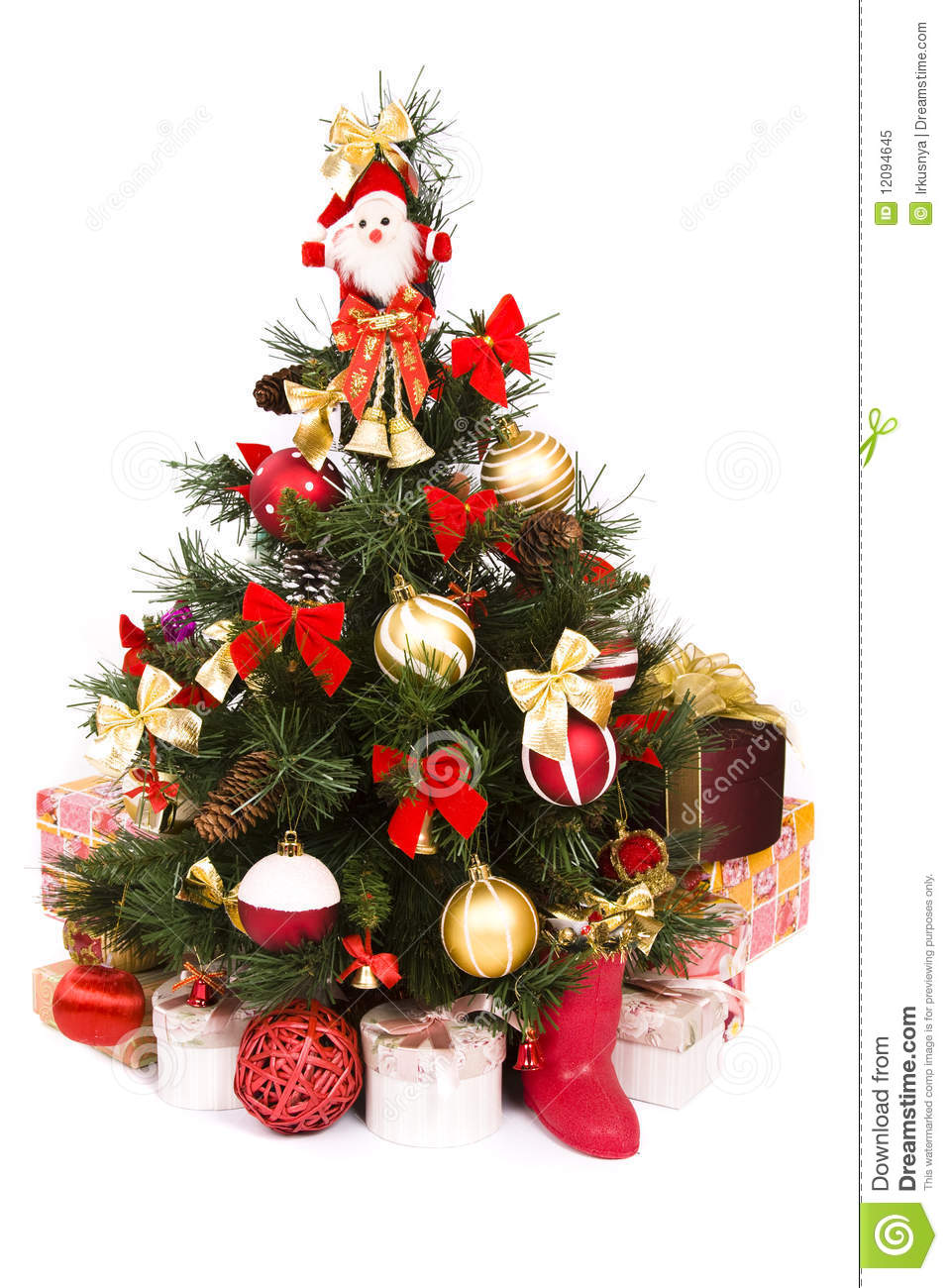 christmas tree decorated in red and gold - Red And Gold Christmas Tree Decorations