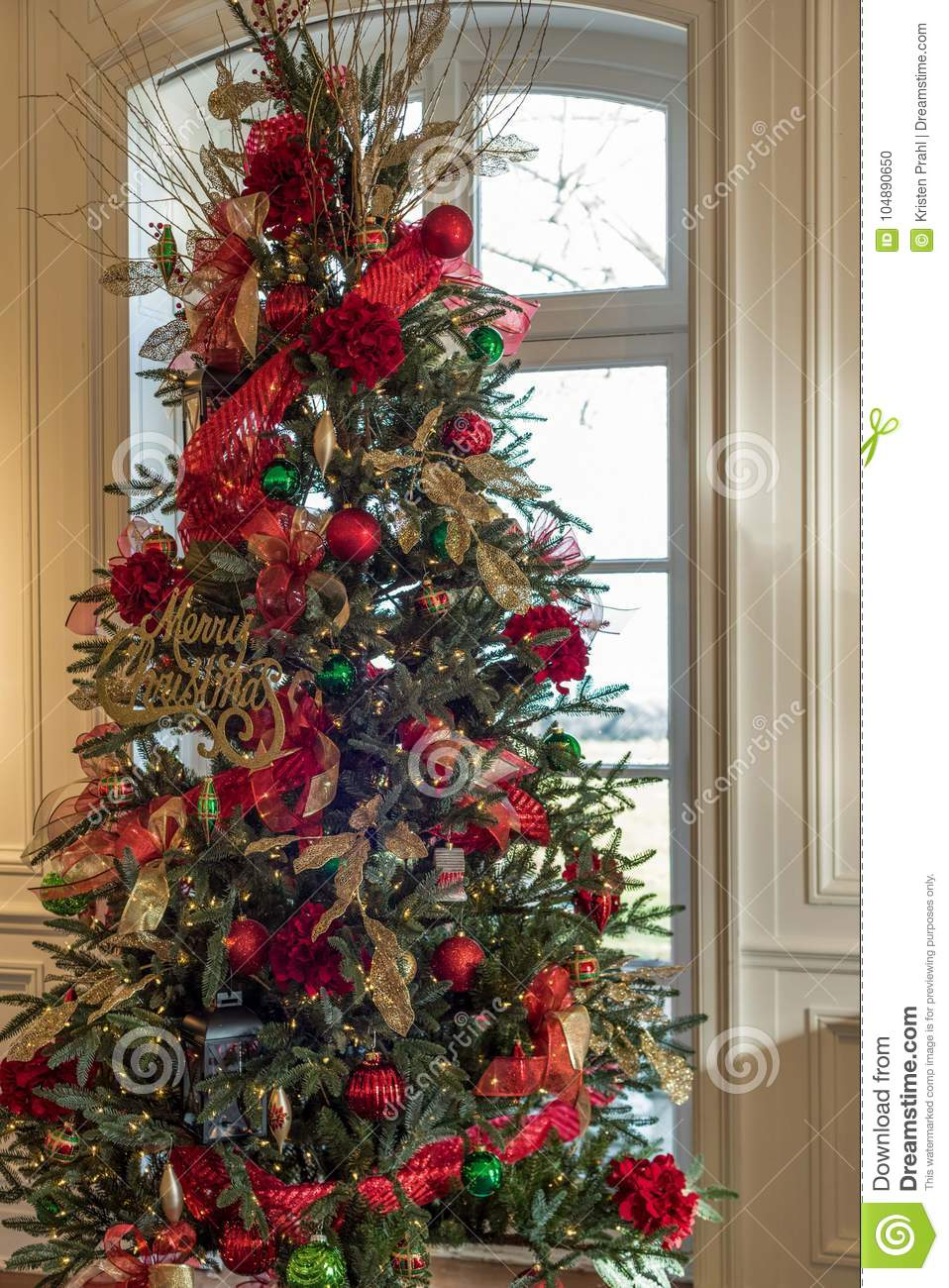 Christmas Tree Decorations Red And Gold.Christmas Tree Decorated In Red And Gold Ornaments Stock