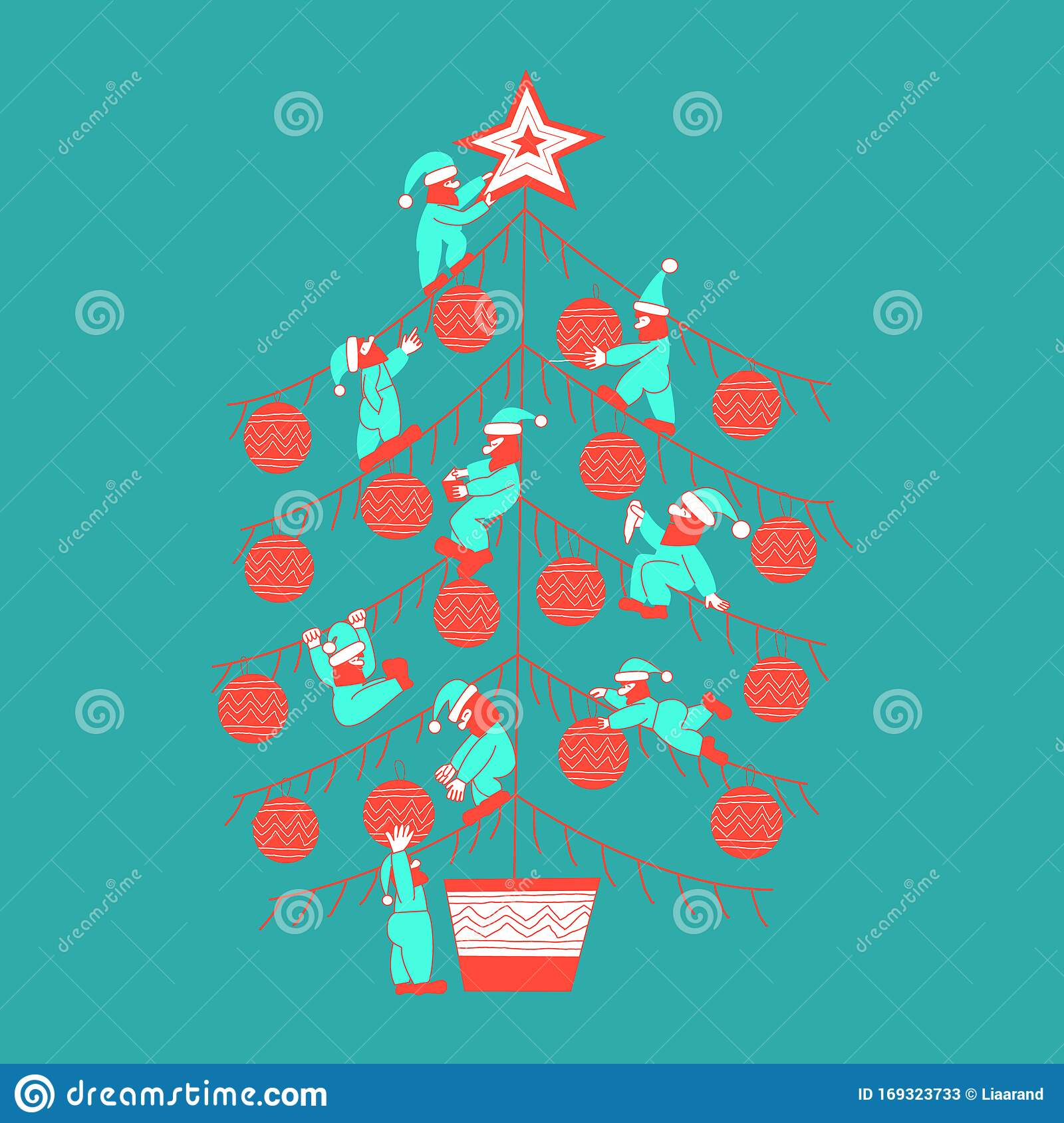 Christmas Tree Decorated With Scandinavian Gnomes Stock Vector Illustration Of Icon Leaf 169323733