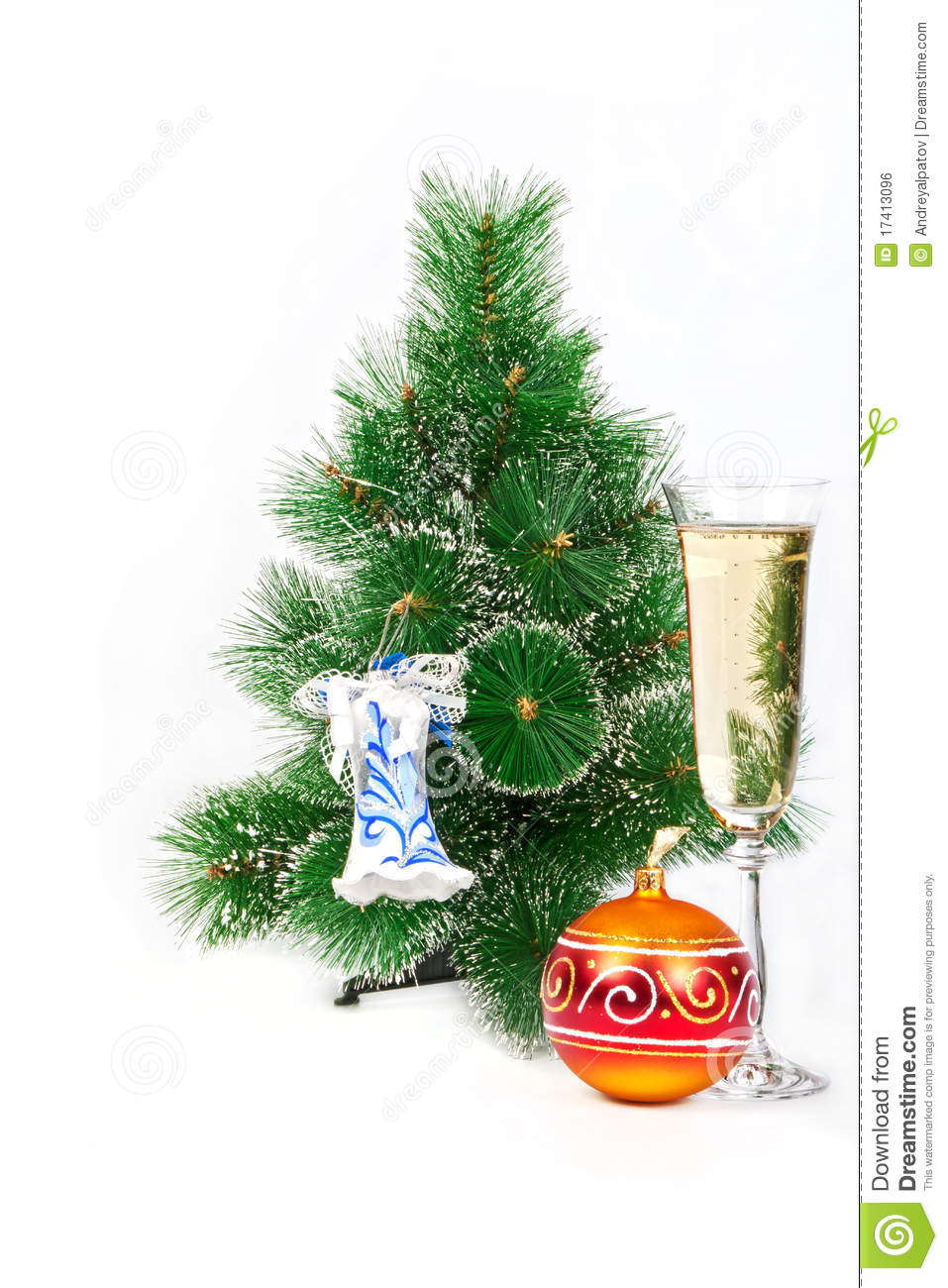 Christmas Tree With Toys : Christmas tree decorated with toys and a glass of stock