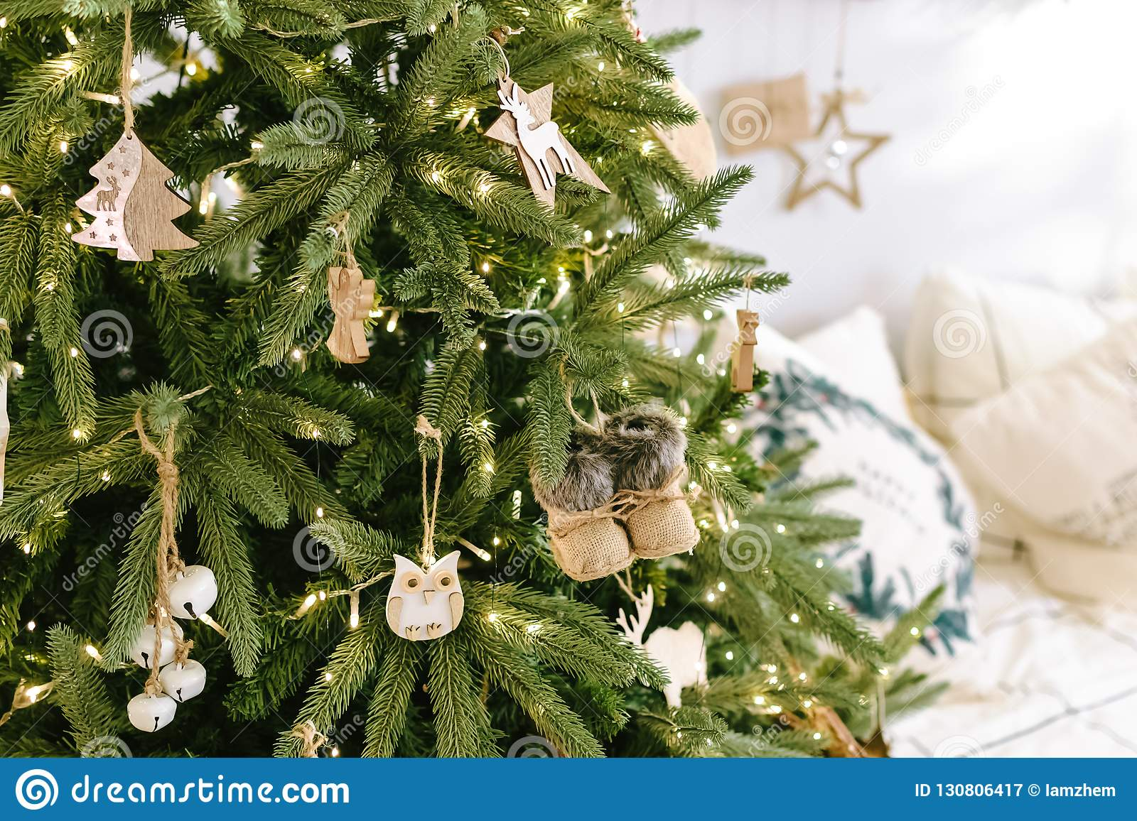 Christmas Tree Styles 2019 Christmas Tree Decorated With Wooden Vintage Toys Garland In A