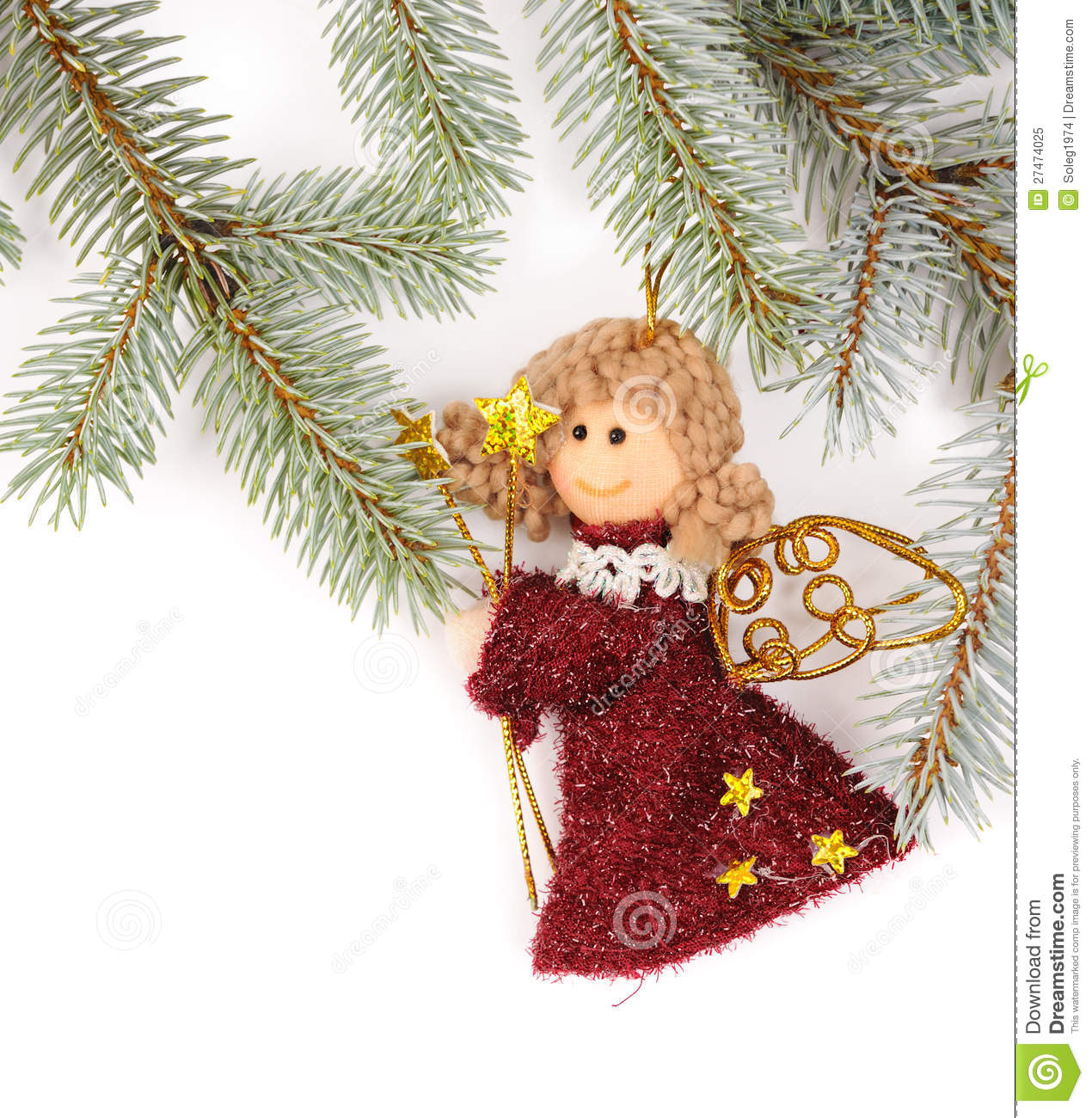 Christmas tree decoration with angel royalty free stock for Angel christmas tree decoration