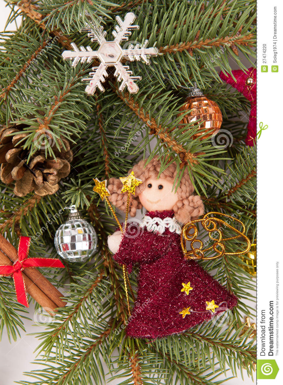 Christmas tree decoration with angel stock photo image for Angel christmas tree decoration
