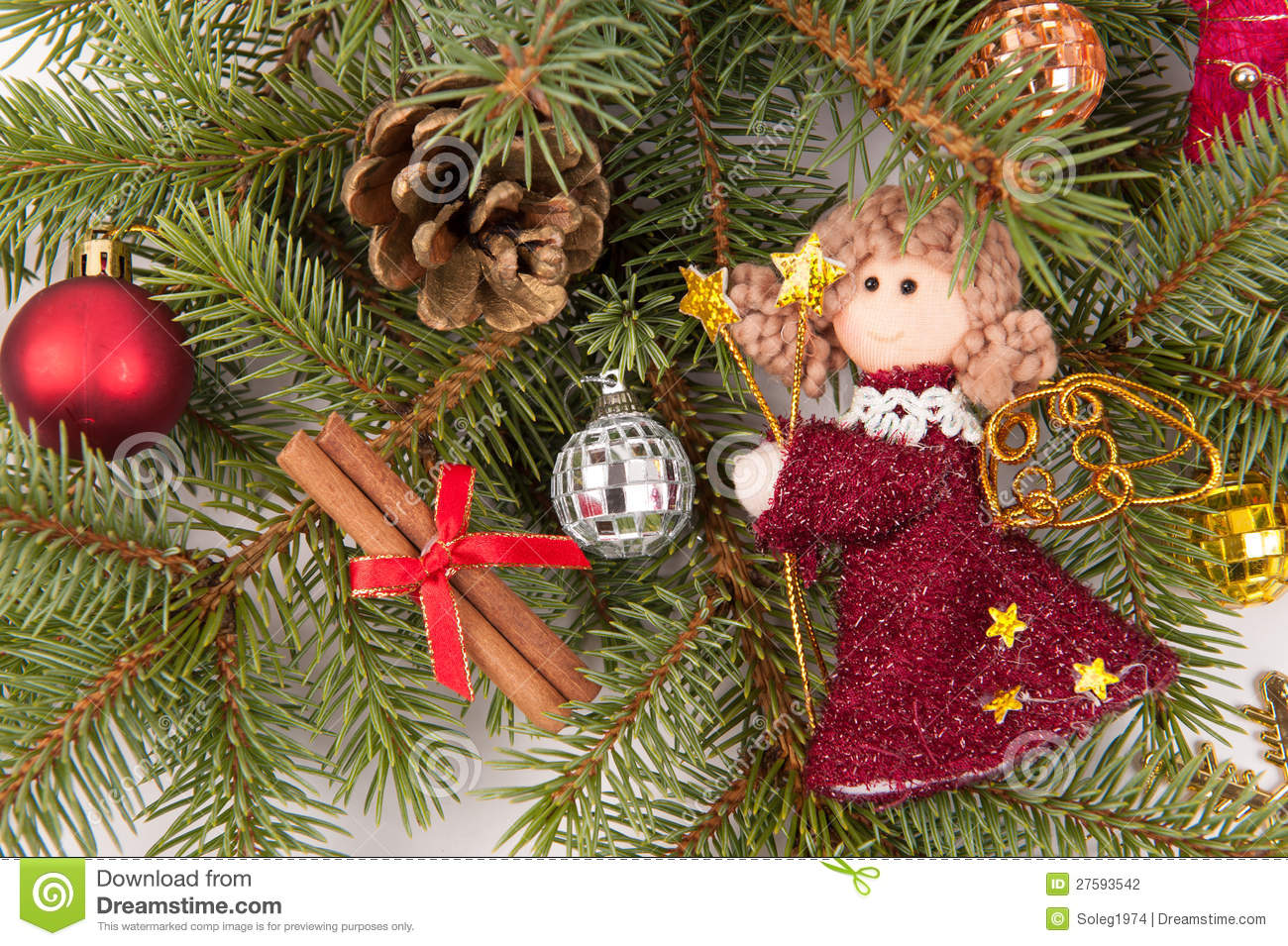 Christmas tree decoration with angel stock photography for Angel christmas tree decoration
