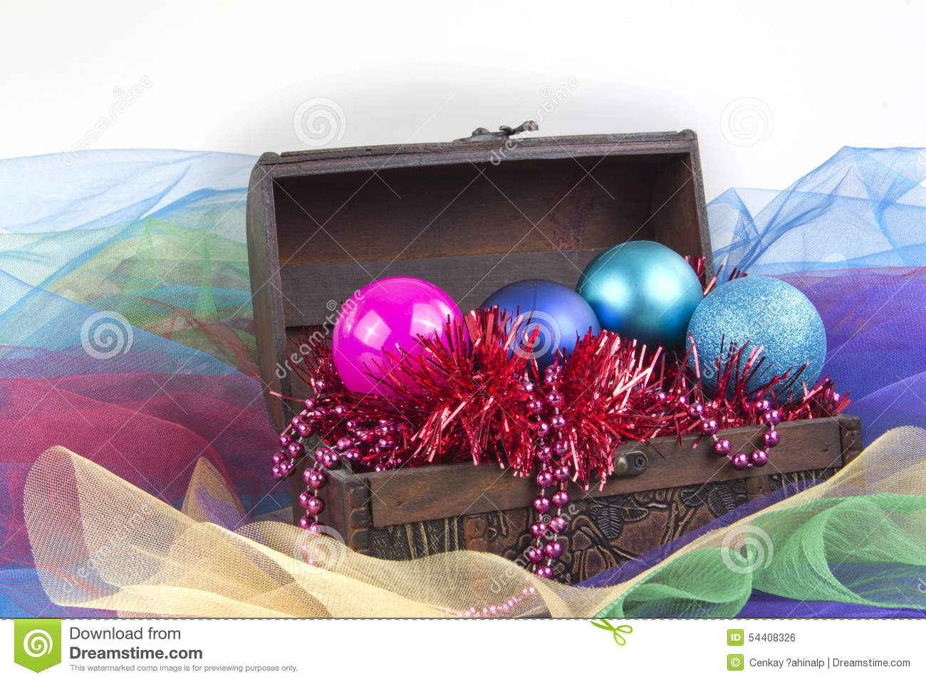 Christmas tree decoration in a box - Christmas Tree Decoration Balls Garment In A Box Isolated On White Background