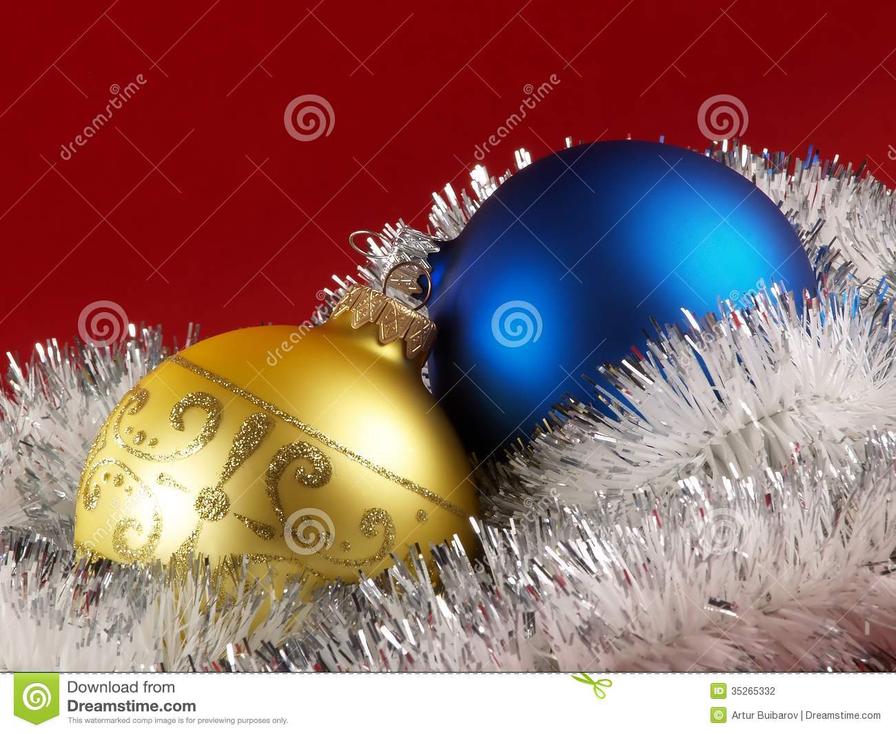 Christmas tree decoration balls stock photography image for Red and yellow christmas tree