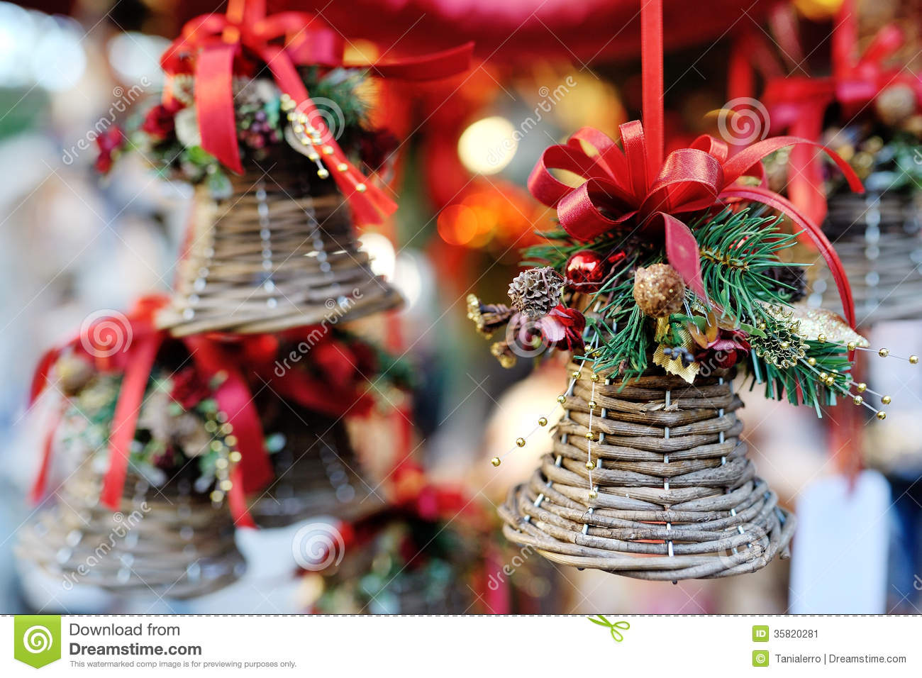 christmas tree decoration bell with red ribbon