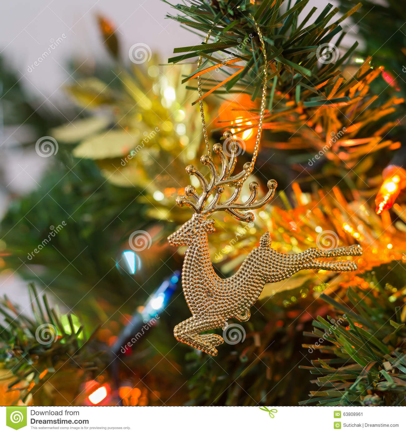 christmas tree decoration in home closeup reindeer ornament stock