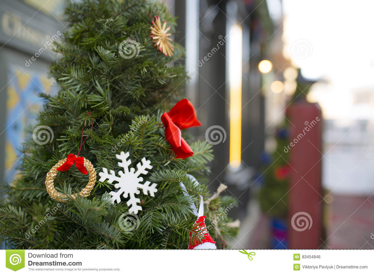 Christmas Tree Decoration Near The Restaurant Outdoor Shoot Stock Photo Image Of Merry Beautiful 83454846