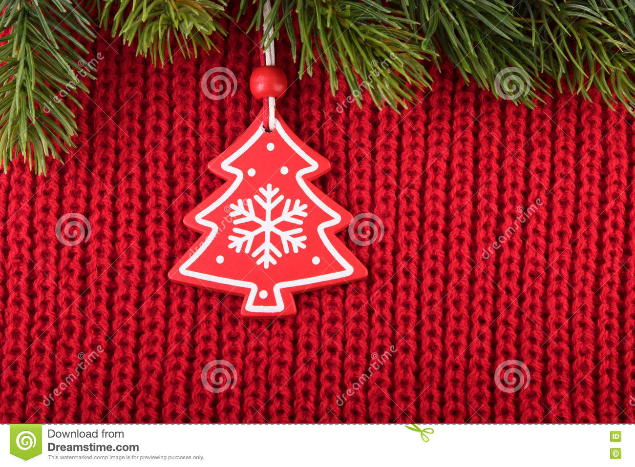 Download Christmas Tree Decoration On Red Wool Background In A Farmhouse Style Stock Image