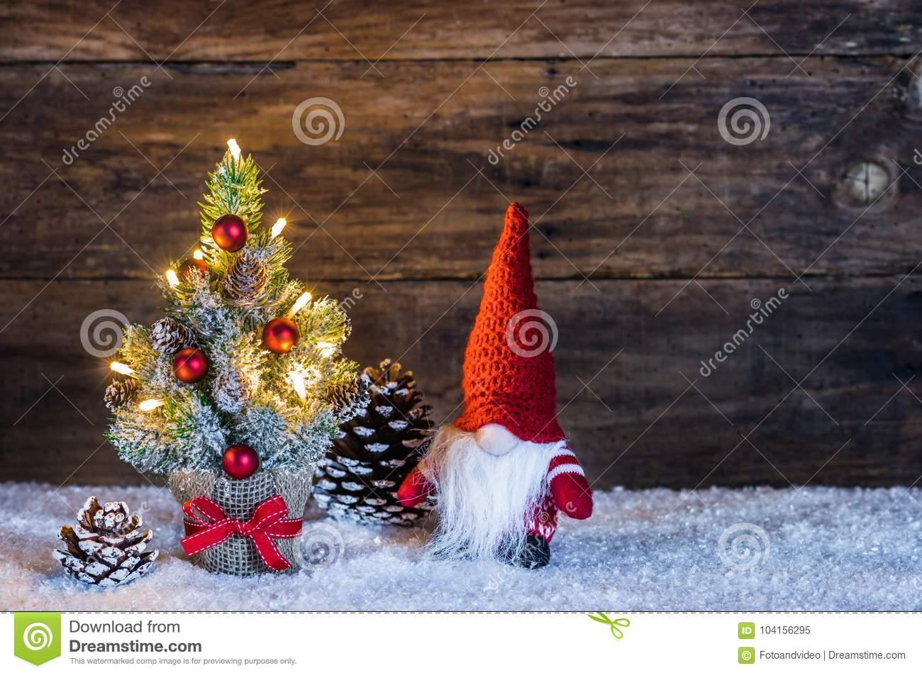 Christmas Tree Decoration With Santa Claus Christmas Gnome Stock Image Image Of Illuminated December 104156295