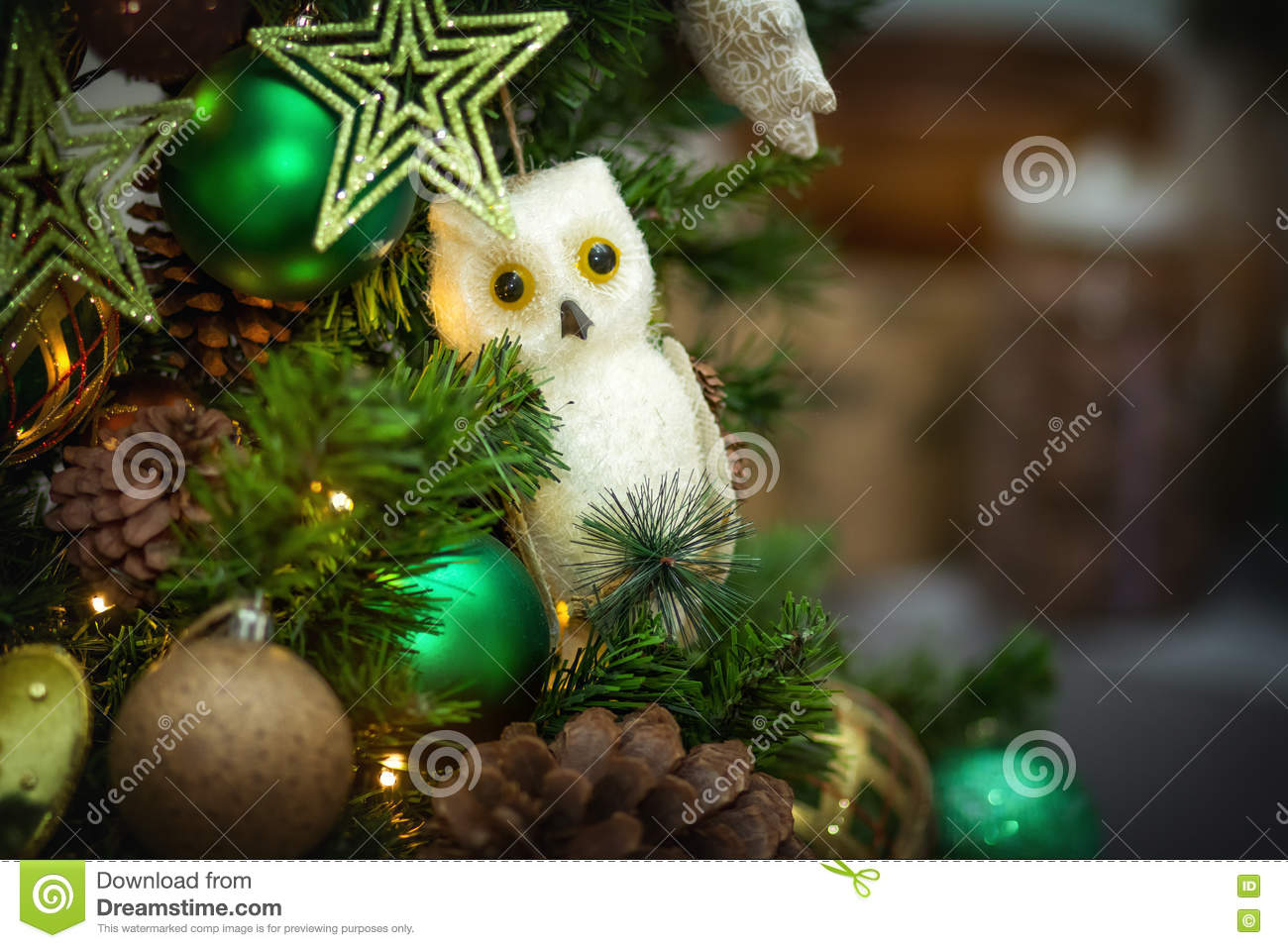 christmas tree decoration snowy owl - Christmas Tree Decorated With Owls