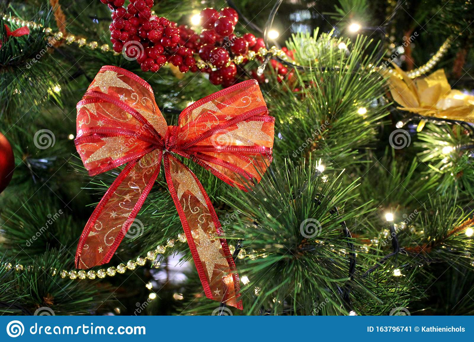 Christmas Tree Decorations Background On Green Tree Stock Image Image Of Card Decoration 163796741