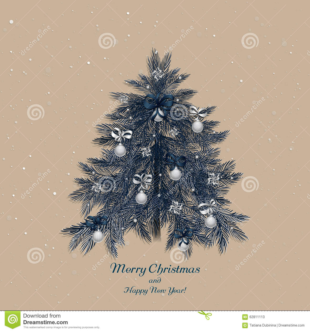 Christmas Tree Decoration Elements: Christmas Tree With Decorations Stock Vector