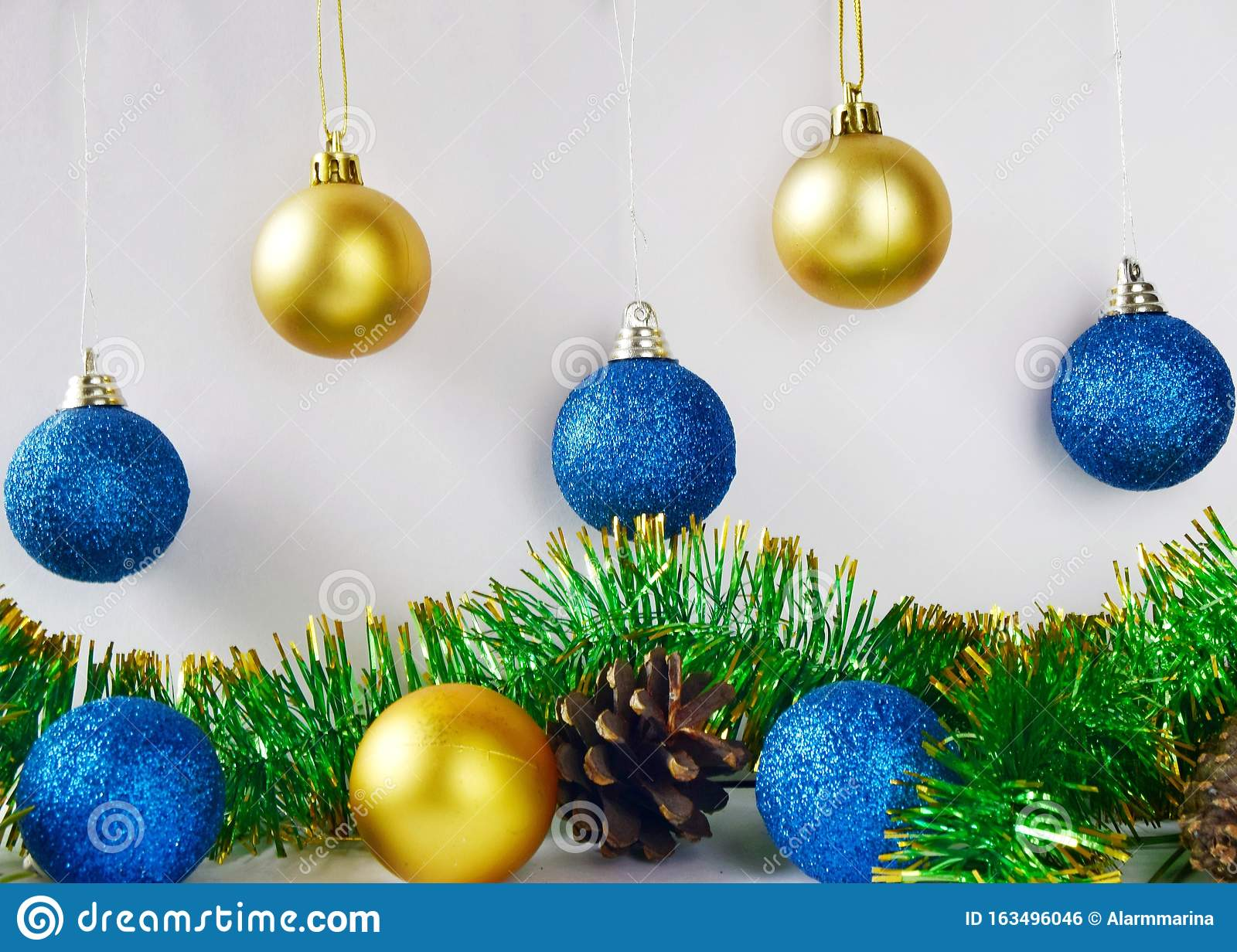 Christmas Tree Decorations Blue And Yellow Balls On White Background Close Up Stock Photo Image Of Christmas Gift 163496046