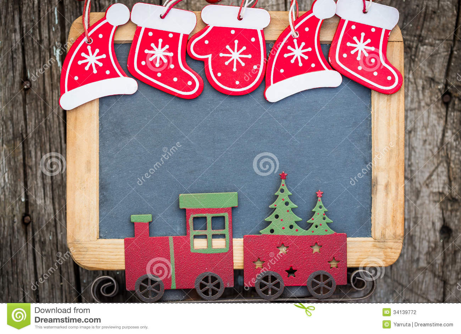 Christmas Tree Decorations Border On Vintage Wooden