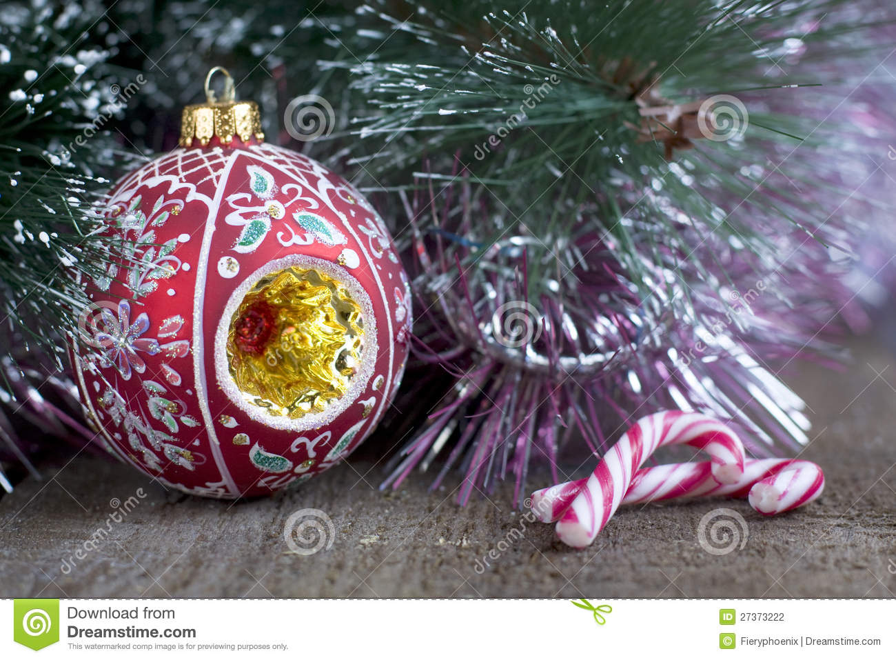 christmas tree decorations and candy