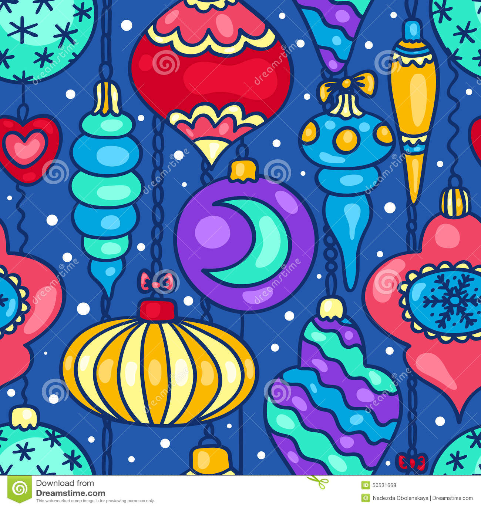Christmas Tree Decorations Cartoon Seamless Pattern Stock