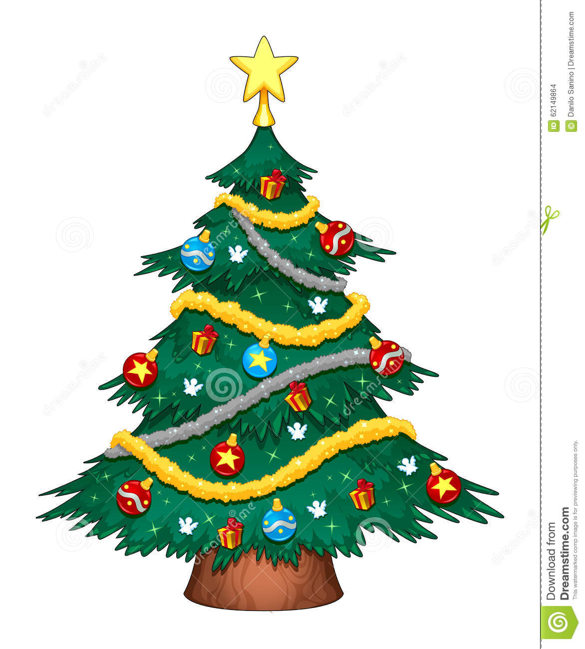 Christmas Tree With Decorations Stock Vector