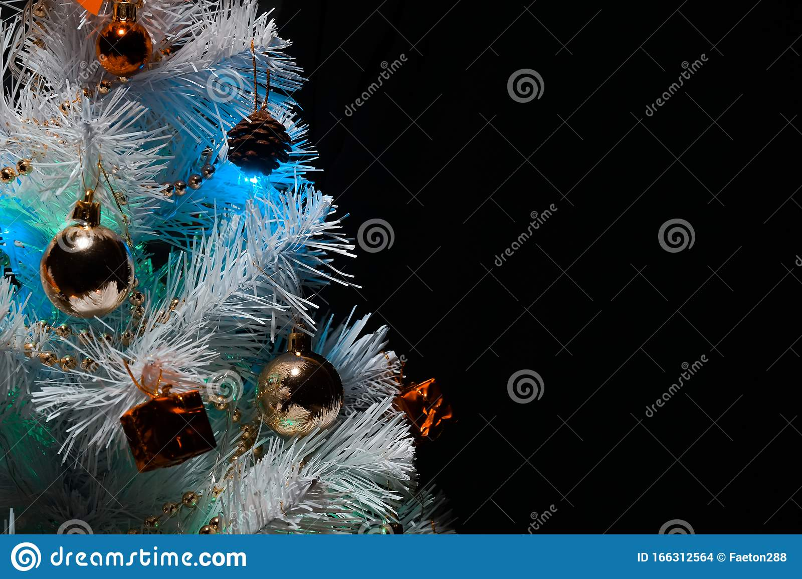 Christmas Tree With Decorations Christmas Tree On A Dark Background Empty Space For A Logo Stock Photo Image Of Flora Decorative 166312564