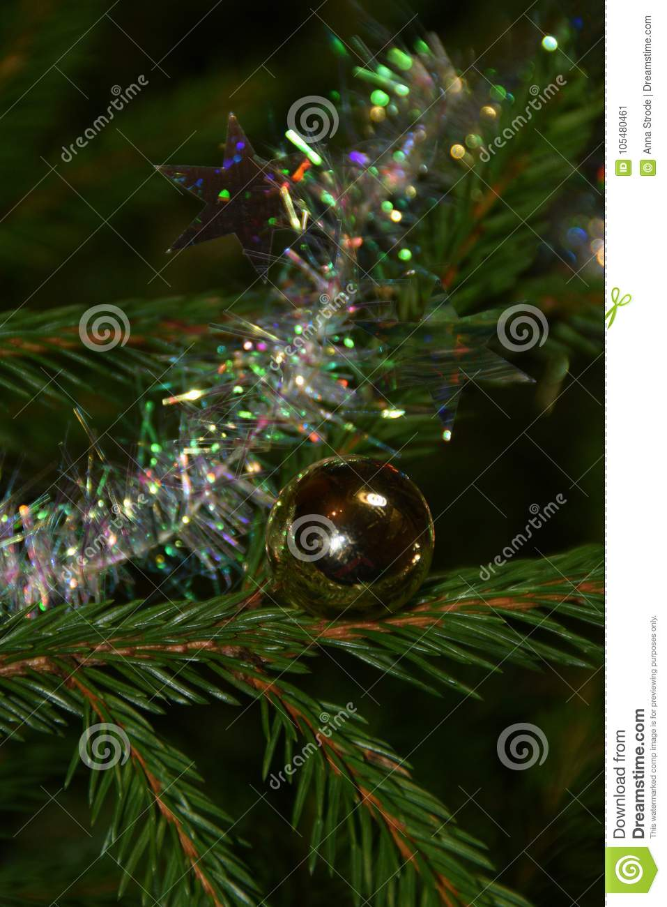 Christmas Tree Decorations On Fir Tree Branches. Stock Image - Image ...