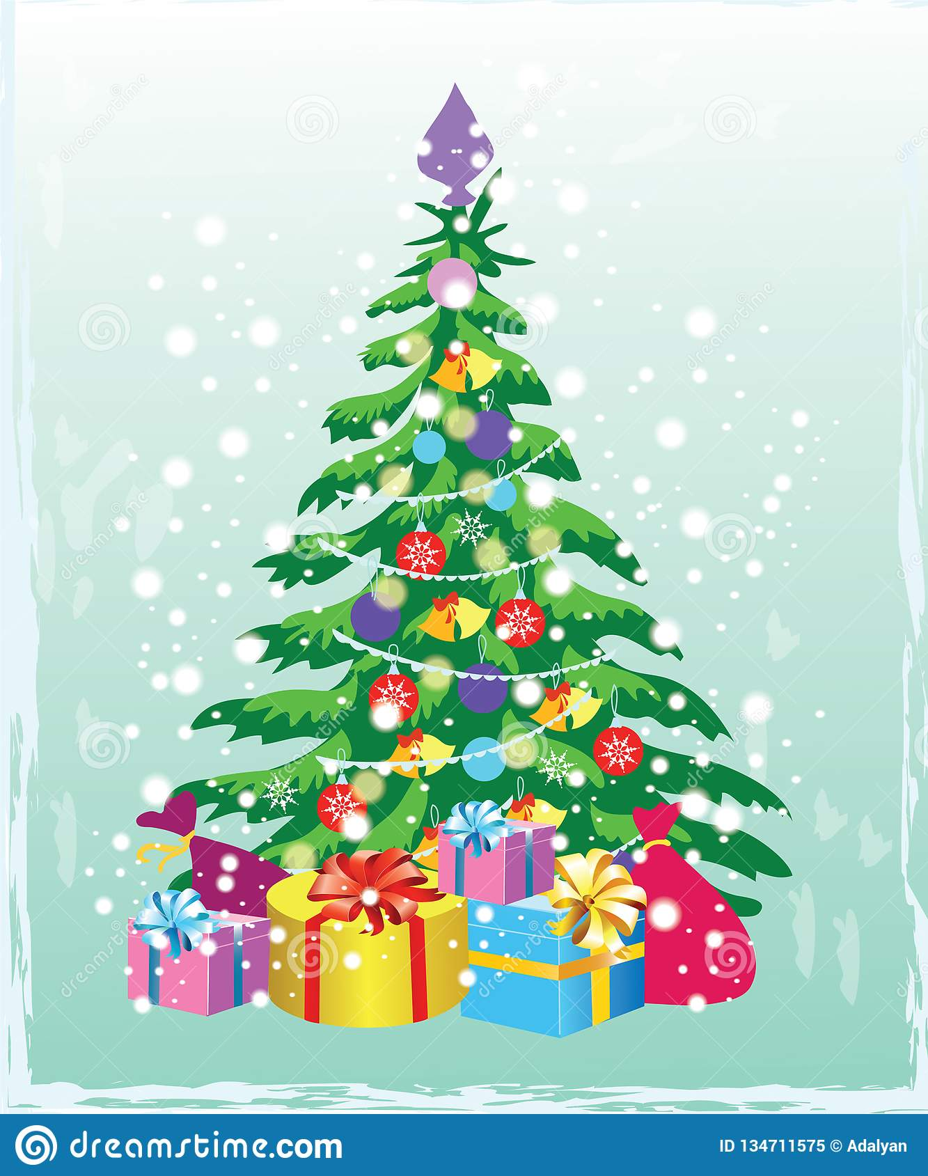 Christmas Tree With Decorations And Gift Boxes. Holiday ...