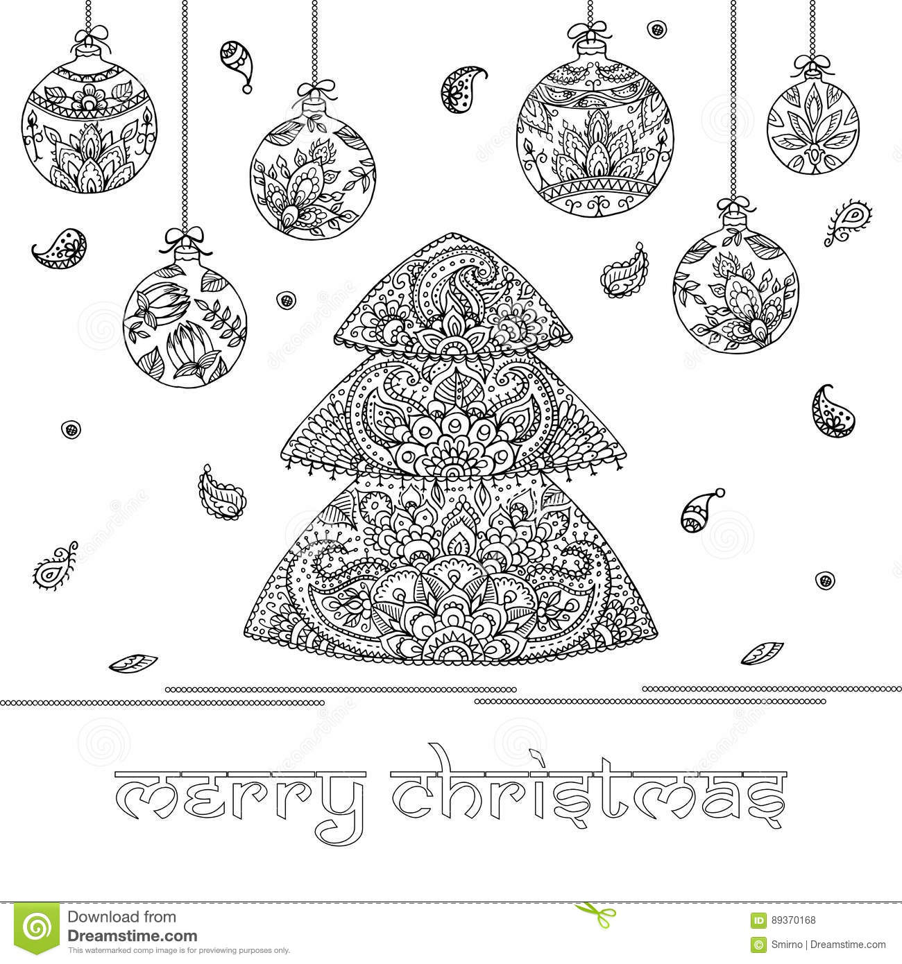 Christmas Tree And Decorations With Indian Floral Paisley Patter ...