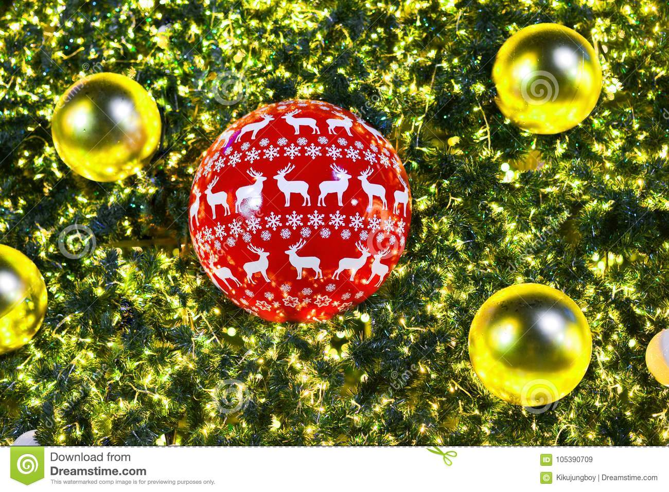 Christmas Tree And Decorations And Lights Stock Image - Image of ...