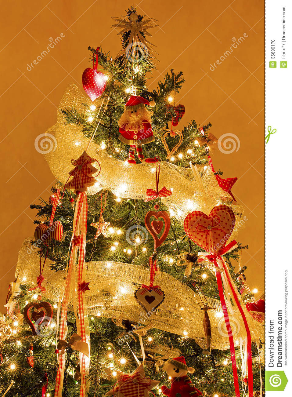 Christmas tree with decorations and lights on stock photo for A christmas decoration