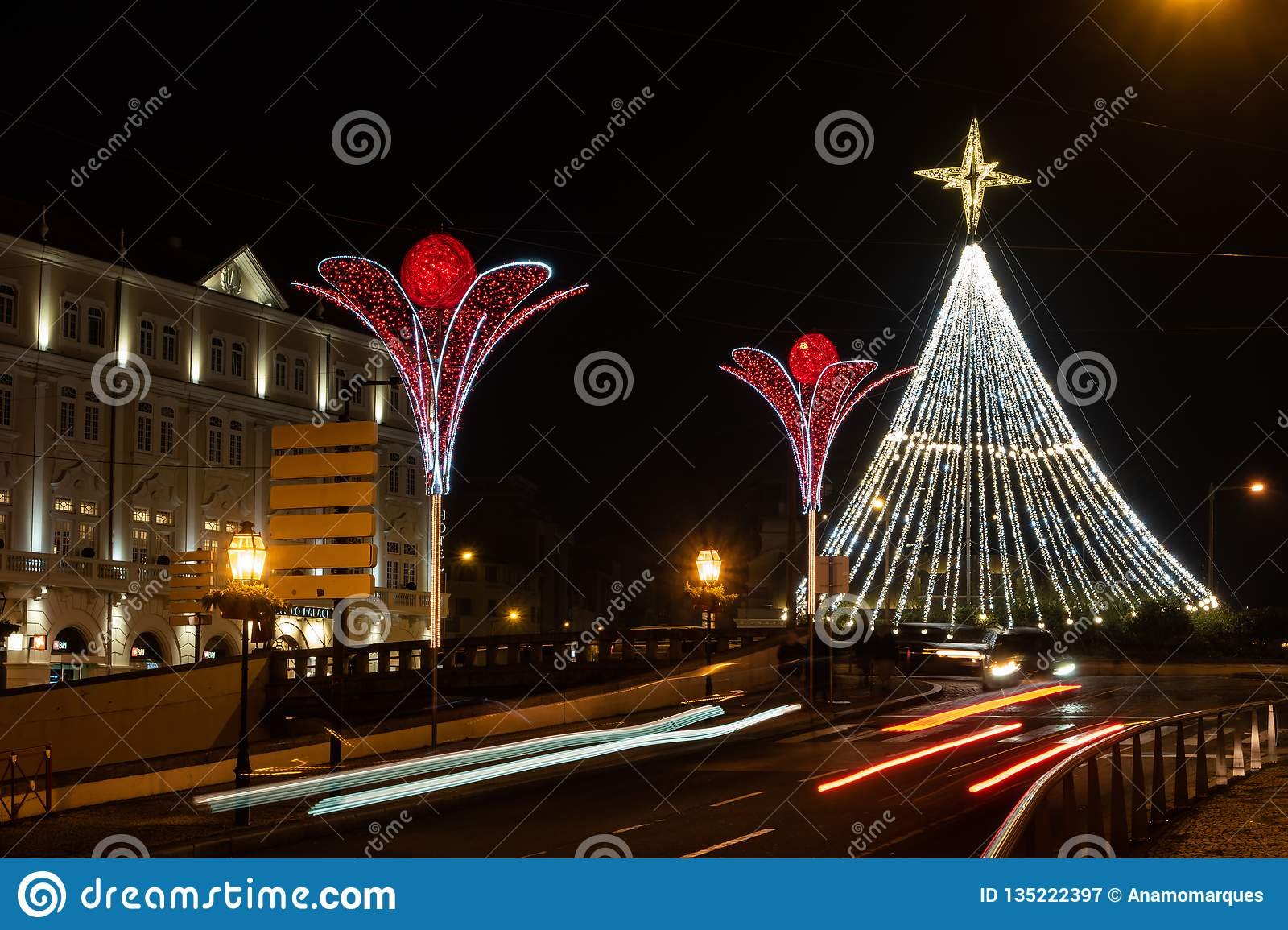 Christmas Boat Decorations.Christmas Tree And Decorations Near The Ria De Aveiro With