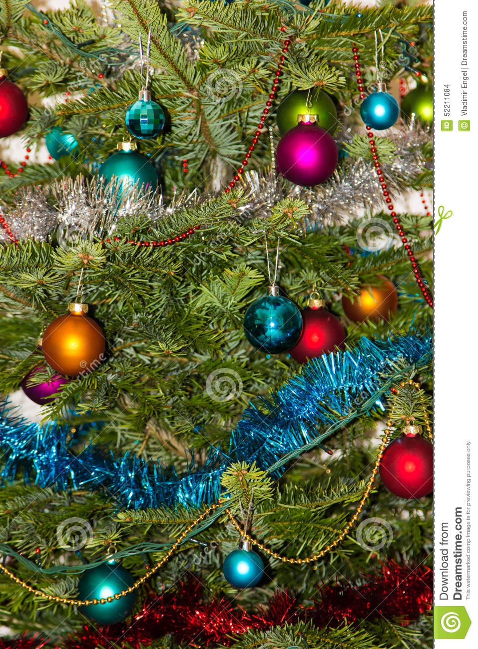 Christmas Tree Decorations 2015 New Year Stock Photo
