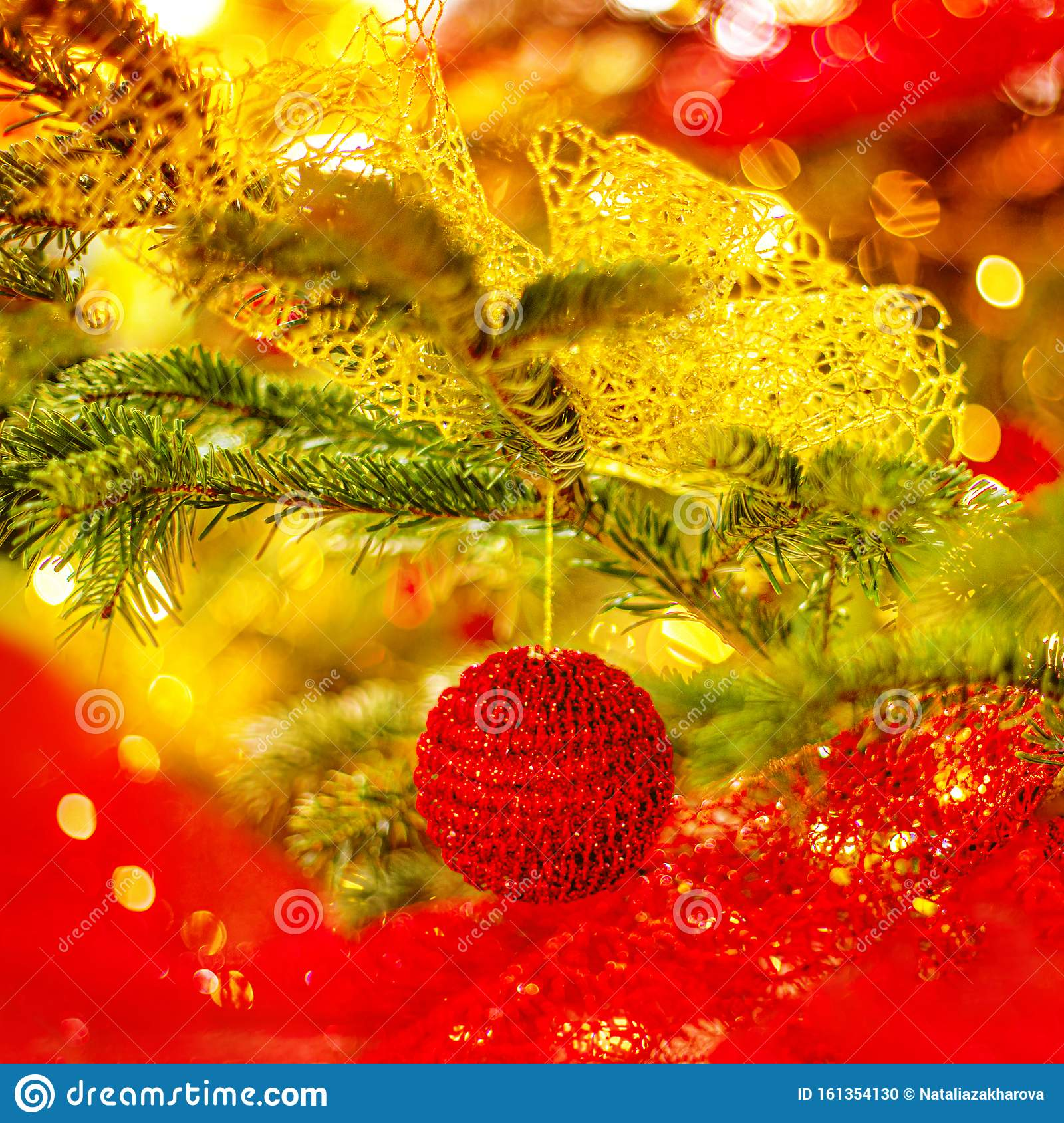 Christmas Tree And Christmas Decorations With Red Baubles ...