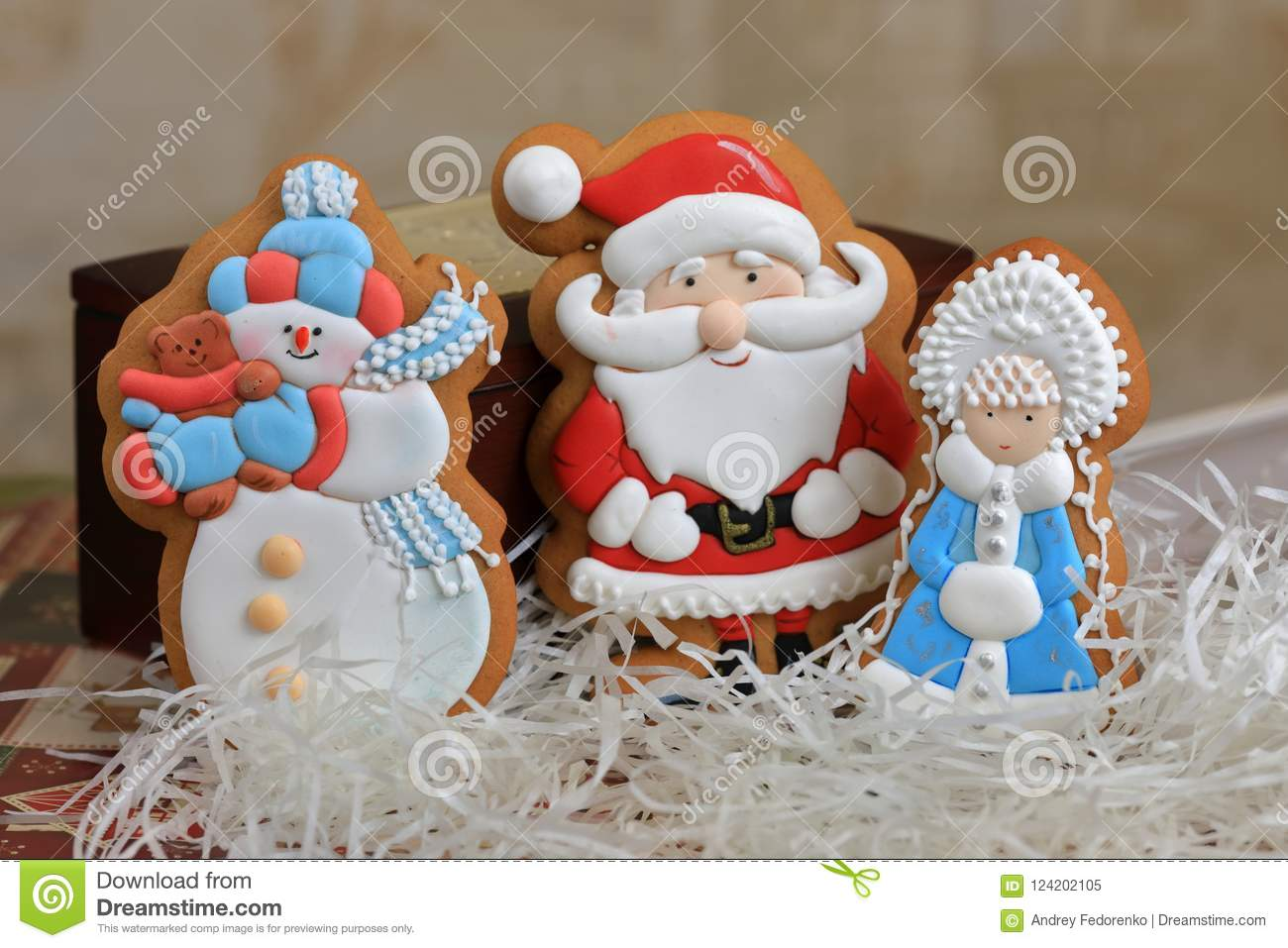 Christmas Tree Decorations Santa Claus Snow Maiden Snowman Gingerbread Stock Image Image Of Festive Gingerbread 124202105
