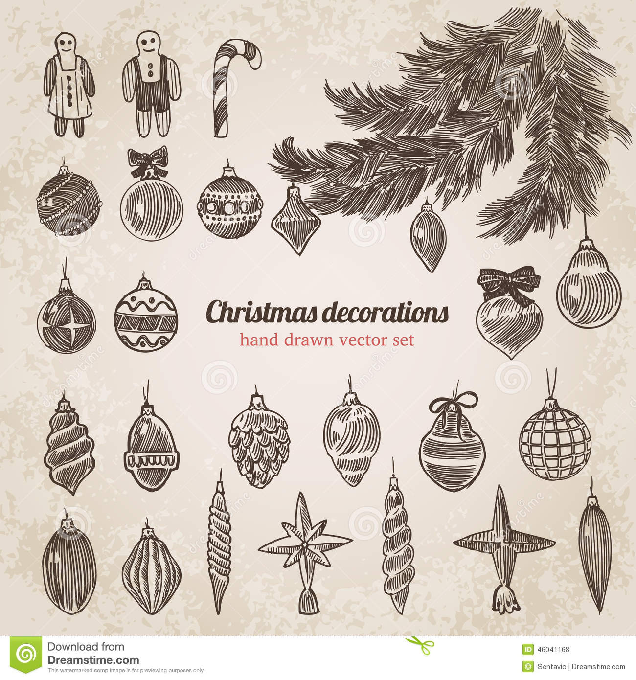 Christmas tree decorations set handdrawn style template for Decoration drawing