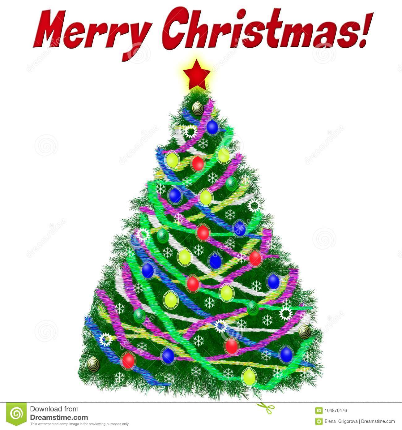 Christmas Tree With Decorations And Tinsel On A Background Gre