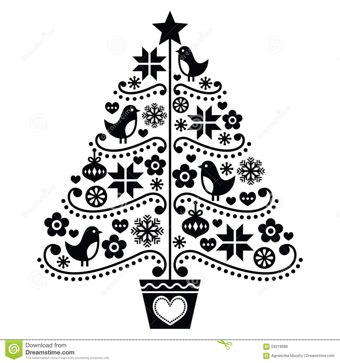 christmas tree design folk style with birds flowers and