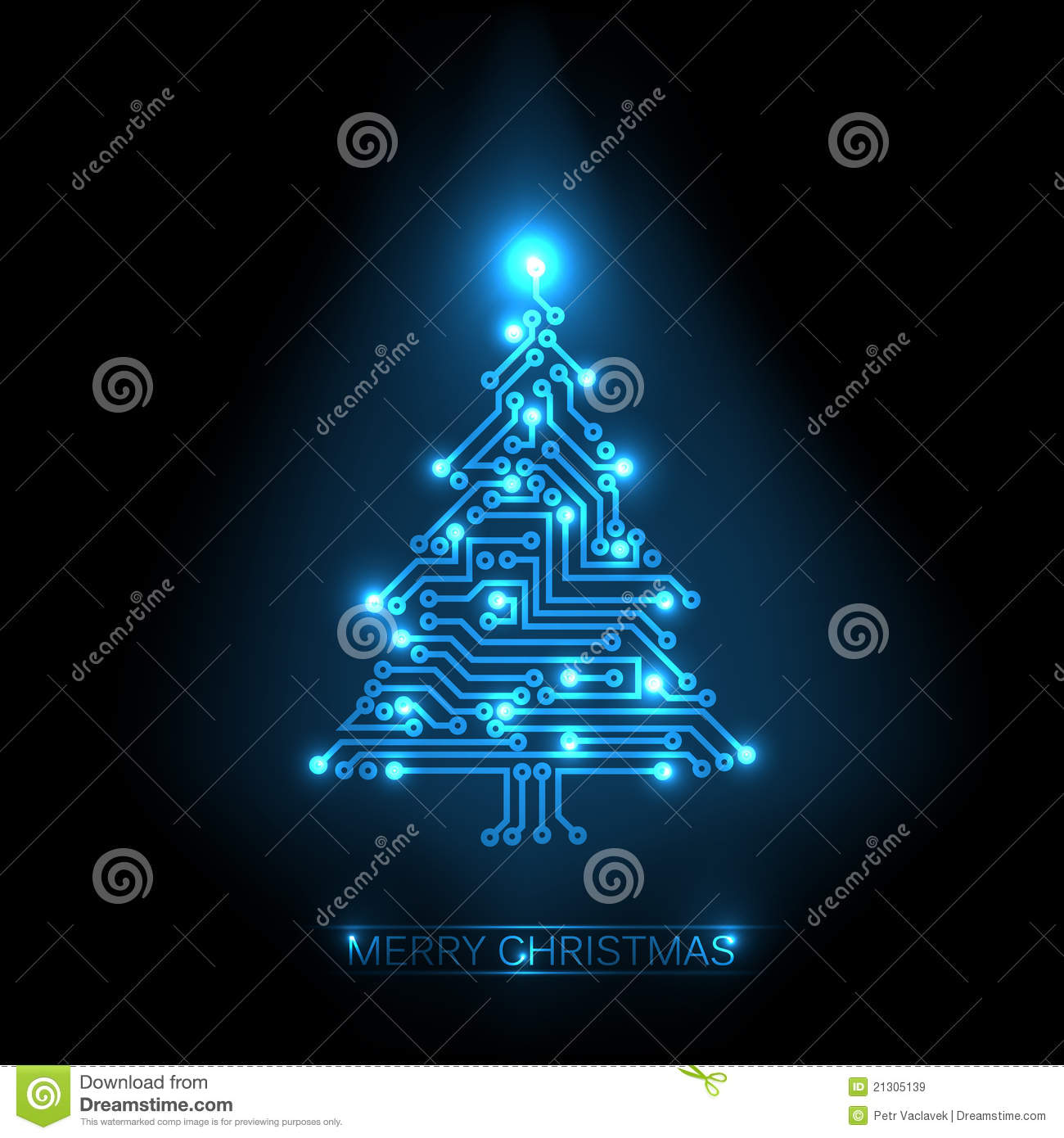 Christmas Tree From Digital Circuit Royalty Free Stock